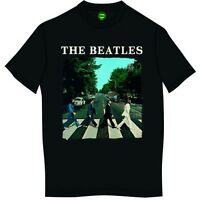 The Beatles T Shirt Abbey Road & Logo Official Mens Black Tee NEW All Sizes. Sgt
