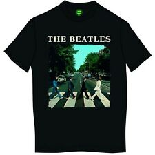The Beatles Mens T Shirt Black Abbey Road Image Band Logo Official XL