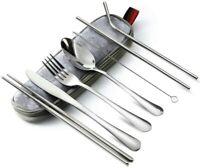 Camping Cutlery Set 8-Piece, Reusable Travel Utensils Stainless Steel Flatware