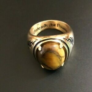 """""""Tiger's Eye"""" Men's Ring With Engraved Statement by Bradfords Exchange Sz 10 1/2"""