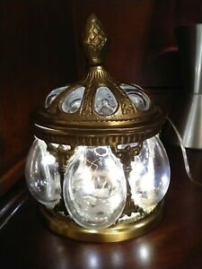 Vintage Bubble Glass & solid Brass Jar With Lid mouth blown handmade Made India.