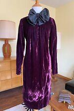 70s Oscar de la Renta Velvet Dress Purple Plum 1970s Designer Vintage Bow Tie