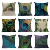 "18"" Home Decorative Pillow Case Peacock Feather Print Linen Waist Cushion Cover"