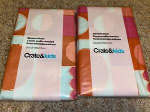 Set of 2 Crate & Barrel Kids Mermaid Mixer Standard Sham Pink Geometric Blue ~