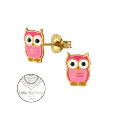 Cute Pink Owls Stud Earrings Gold Plated .925 Silver Enamel   (O750)