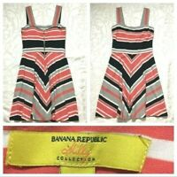 Banana Republic Womens Dress size 8 Salmon Pink Black Striped Milly Collection