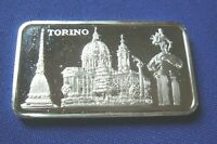 """Rare """"Torino"""" Italy Pamp Suisse 1 Troy oz .999 Silver Art Bar"""