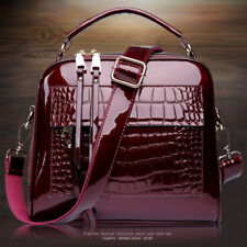 ab93fe1fa8ec Women Crocodile grain Leather Messenger Crossbody Satchel Handbag Shoulder  Bag