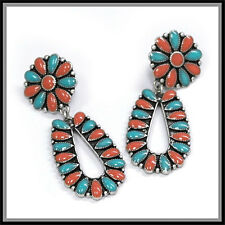 Turquoise & Coral Squash Blossom Flower Earrings Silver tone Tribal Post