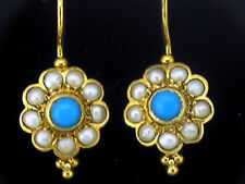 E106 Genuine 9ct SOLID Yellow Gold NATURAL Turquoise & Pearl Blossom Earrings