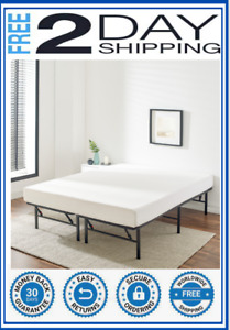 FOLDABLE STEEL BED FRAME Queen 14 in. High Profile Powder Coated Steel Frames