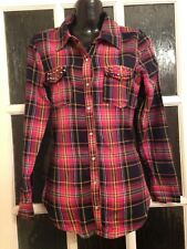 Atmosphere Pink Check Long Sleeve Shirt / Blouse Vgc Size 6
