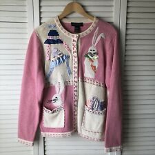 Vintage Women's Easter Cardigan Sweater All Points By Reference Point Sz Large