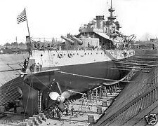 1898 Photo of Battleship USS Oregon in Drydock Brooklyn Navy Yard