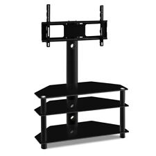 3 Tier Floor TV Stand with Bracket Shelf Mount Tempered Glass Shelves Solid