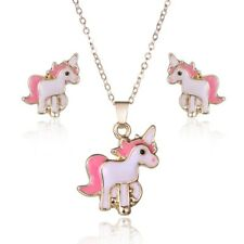 Pink Horse Unicorn Jewelry Sets Kits For Women Girl Animal Earrings Necklaces