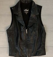 Wilson's Maxima Ladies Vest Black Leather Full Zip Size Small Motorcycle Biker
