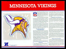 MINNESOTA VIKINGS ~ NFL TEAM EMBLEM PATCH COLLECTION + STAT CARD Willabee & Ward