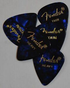5  x  Fender Guitar Picks Blue 351 Thin, Medium,  Heavy