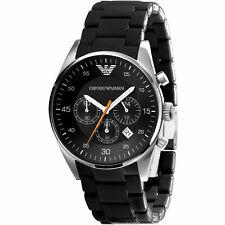 100% New Emporio Armani AR5858 Men's Black Tazio Sportivo Chronograph Watch