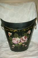 TOLE ROSES TRASH CAN WASTE BASKET FIRE BUCKET HP LION HEAD HANDLES FRENCH 1940s