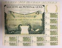 Sehr dekorativ u.RAR: Soc. des Mines de Lens, Cat.A v. 1920- mit Wasserzeichen