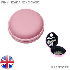 Pink In Ear Ipod Headphone Earbuds Round Storage Hard Carry Case With Zip Ipad