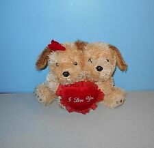 "10"" Goffa Plush Boy & Girl Puppy Dog Hugging Couple Valentine I Love You Pillow"