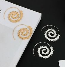 ETHNIC TRIBAL SPIRAL HOOP EARRINGS GOLD EARRINGS SILVER EARRINGS HEART EARRINGS