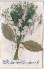 CPA FANTAISIE  AJOUTIS Gerbe de fleurs tissu rose blanc ne m oubliez pas
