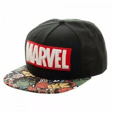 Marvel Comics Heroes With Logo Halftone Black Snapback Hat