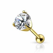 Vero Oro Piercing Trago Cristallo 585 14 Carato Helix Orecchini Cartilagine