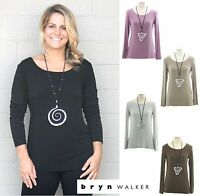 BRYN WALKER Soft Micro Modal LONG LS SHELL  Layering Top XS S M L XL 2015 COLORS
