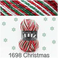 King Cole Glitz DK 1698 Christmas Acrylic Sparkle Knitting Yarn Wool 100g