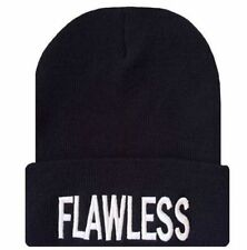NEW FLAWLESS 3D EMBROIDERY BEANIE SKULL CAP HIP HOP HAT BLACK/WHITE