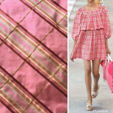 SALE! Designer 100% Silk Taffeta Dupioni Plaid Tartan Ribbon Fabric Pink