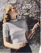VINTAGE 1950'S KNITTING PATTERN PRETTY FITTED SHORT SLEEVED JUMPER