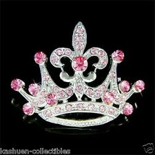 w Swarovski Crystal 2 in 1 PINK Rose Crown Paris Fleur De Lis Pendant Pin Brooch