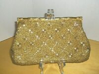 Vintage Gold beaded clutch evening bag made in Hong Kong