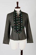 NANETTE LEPORE – Stunning Striped Gray Floral Embroidered Jacket Blazer – Size 8