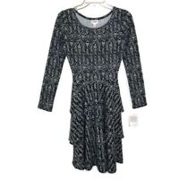 Lularoe Black White Dress Long Sleeve Tiered Ruffle Size XS