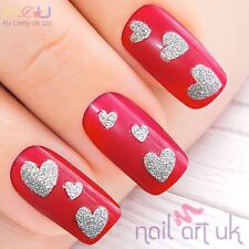 Glitter Silver Heart Adhesive Nail Art Stickers Decorations Decals