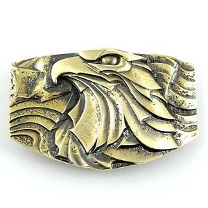 Bald eagle belt buckle, bird of prey solid brass belt buckle for men and women