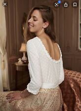 NWT Sezane Blouse White Polka Dot Leonor Top FR 38 US 6