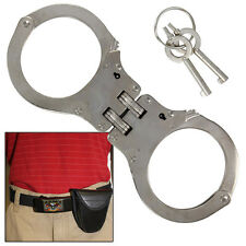 Busted High Security Authentic Double Hinged Nickel Handcuff