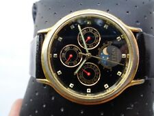 USED RARE MOON PHASE MULTI FUNCTION TITAN 18K GOLD PLATED MENS QUARTZ WRISTWATCH