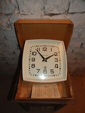 Vintage wall clock USSR Soviet Russian electric, square STRELA