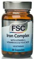 FSC Iron Complex 30 Capsules Vitamin C, B12, Folic Acid *Pack Of 2*