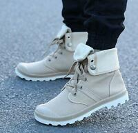 Men's Athletic Casual high top outdoor canvas lace up sneakers ankle boots shoes