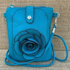 Turquoise Rose Small Bag with Smart Phone Spectacle Holder Long Cross Body Strap